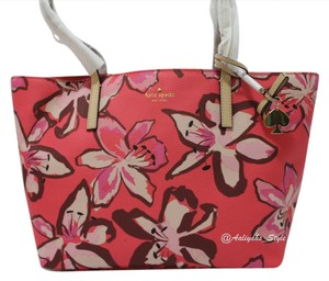 Kate Spade 098689944142 Nwt Kate Floral Tote in Surprise Coral