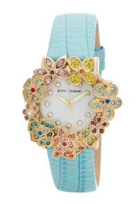 Betsey Johnson Betsey Johnson BJ00574-01 Flower Mint Leather Strap Watch