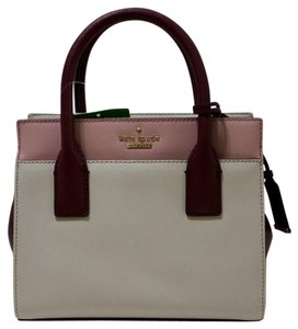Kate Spade Croossbody Nwt Leather Satchel in Crisp Linen/Pink Bonnet/Gold