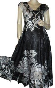 black, silver gray Maxi Dress by Komarov