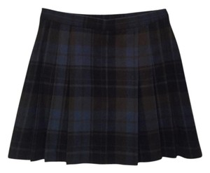 DKNY Wool Plaid Pleated Mini Skirt Blue/Green Plaid