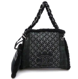 Chanel Suede Lambskin Mouton Tote in Black