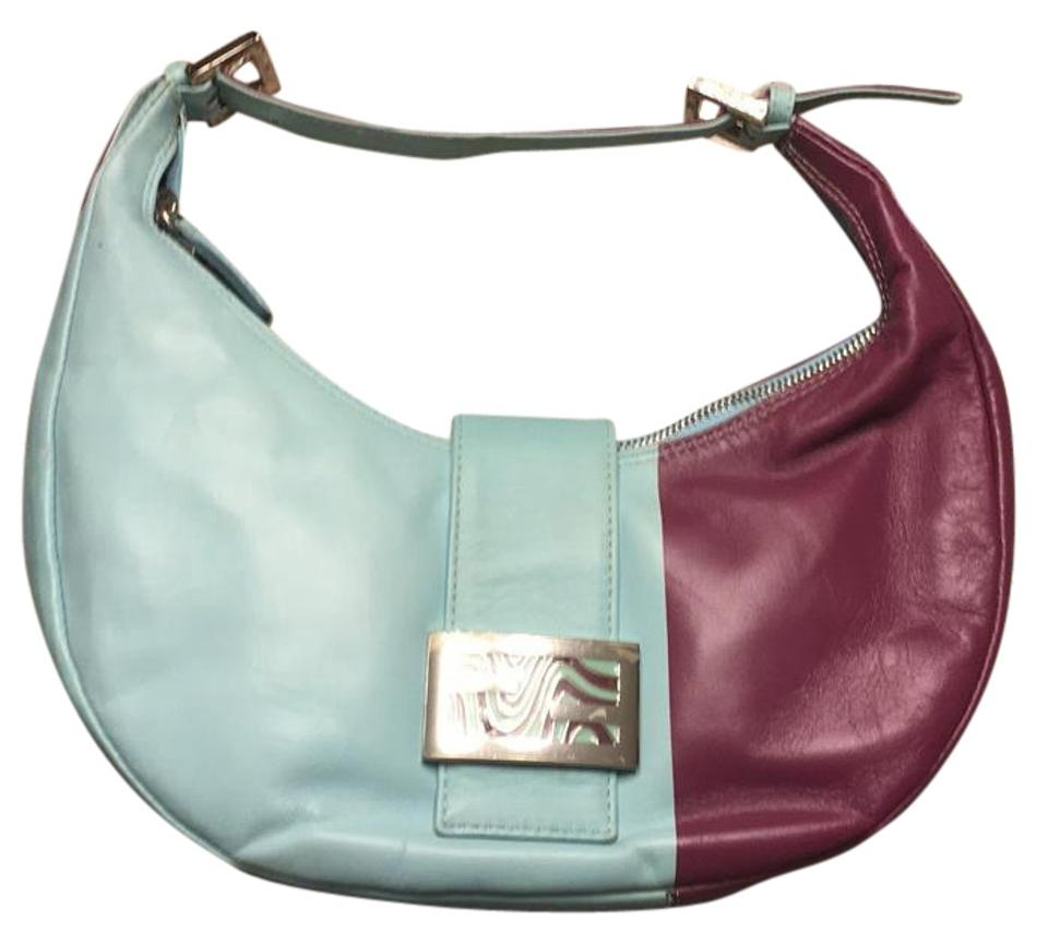 58077ca82e Fendi Baguette Moon Shape Blue/Purple Leather Shoulder Bag - Tradesy