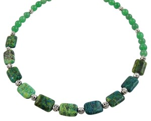 Handmade Hunter Green Aventurine and Silver beaded strand Necklace