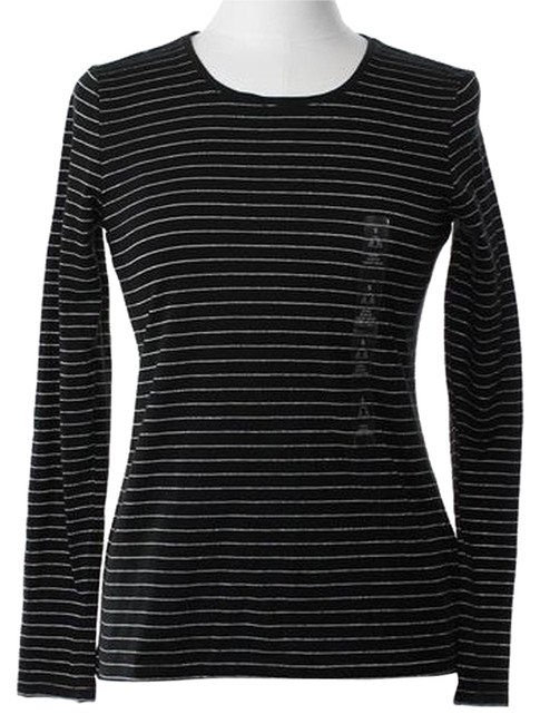 Item - Black Silver W Sale New Stripes Long Sleeve Small Tee Shirt Size 4 (S)