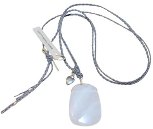 Chan Luu QUARTZ GEMSTONE PENDANT STERLING SILVER HEART CHARM LEATHER NECKLACE