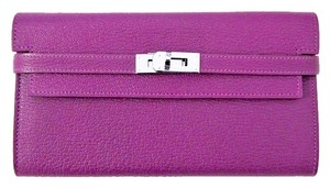 Hermes Hermes Anemone Purple Kelly Long Wallet Clutch Constance Bag PHW Silver