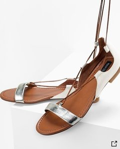 White House | Black Market Lace-up Metallic Cream, Silver, Brown Sandals