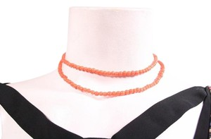 Vintage Coral Beaded 2 Strand Choker Necklace