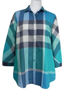 Burberry Brit Cotton Longsleeve Plaid Tunic Top Blue