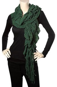 Other Green Knit Ruffle Solid Color Scarf