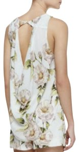 Alice + Olivia Silk Floral Cut-out Draped Sleeveless Top