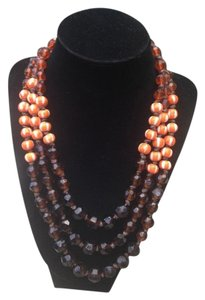 Vintage Genuine Amber Orange White Resin Beaded 3 Strand Necklace