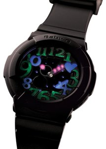 Baby-G Baby-G Black & Neon Dial Ladies Hearts Watch BGA131-1B Limited Edition