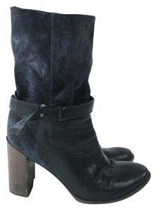 Vince Black Leather Suede Stacked Boots
