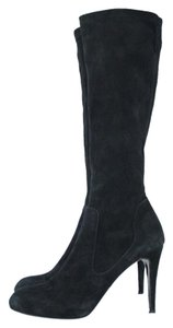 Francesco Sacco Suede Knee Stiletto Black Boots