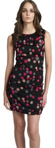 Diane von Furstenberg Silk Polka Dot Ruched Sleeveless Sheath Dress