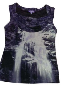 Vivienne Tam Sleeveless Top Black, deep purple and off white