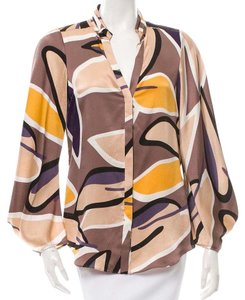 Diane von Furstenberg Dvf 100% Silk Button Down Shirt Multi