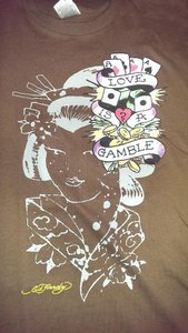 Ed Hardy Geisha Girl Size Med T Shirt Brown