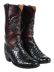 Lucchese Deep Red Ostrich Leather Almond Toe Heeled Cowboy Black Boots