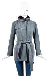 Akris Cashmere Knit Chinchilla Fur Collar Belted Long Sleeve Gray Jacket
