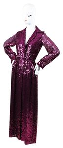 Other Vintage Oscar De La Renta Boutique Long Sleeve Sequined Maxi Purple Jacket