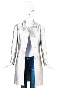 Versace Collection Tone Metallic Medusa Buckle Hardware Ls Coat Silver Jacket