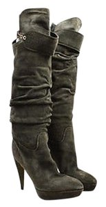 Sergio Rossi Olive Suede Knee High Green Boots