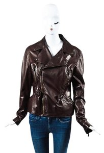 Alexander McQueen Leather Multi Collared Motorcycle Burgundy Jacket