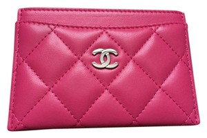 Chanel CHANEL 14K Fuchsia Pink Lambskin Card Holder SHW