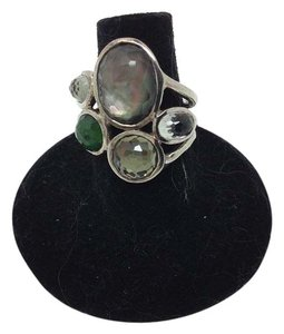 Ippolita size 7.25, green, 5 multi-stone, sterling silver ring