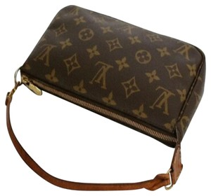 Louis Vuitton Pochette Gift Monogram Brown and Tan Clutch