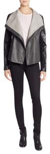 Vince Color-blocking Lambskin New BLACK/CHARCOAL/GREY Leather Jacket