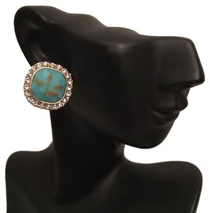Gold & Turquoise Rhinestone Post Earrings