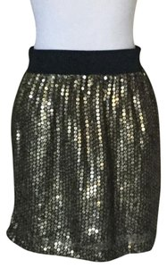 Apostrophe Sequin Mini Skirt gold camouflage