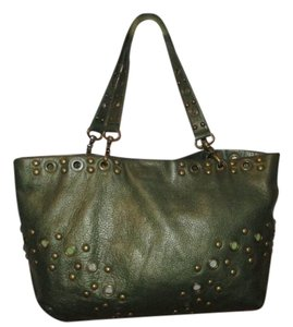 Hobo International Leather Studded Satchel Tote in green