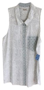 Free People Button Down Shirt Cream, teal