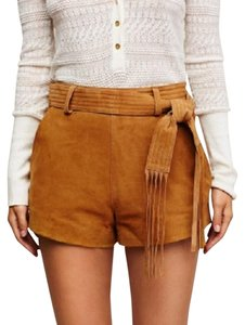 Free People Suede Leather Date Night Dress Shorts Camel