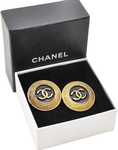 Chanel CC Logo Round Black and Gold Earrings Accessory