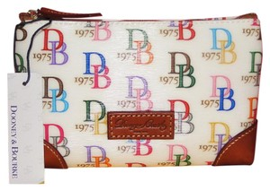 Dooney & Bourke DB75 WHITE MULTI COSMETIC CASE CLUTCH BAG