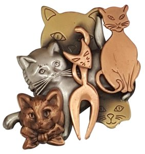 Vintage Diverse Cat Brooch Brass, Copper and Pewter