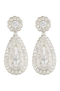 Nadri Nadri Scallop Frame Teardrop Earrings