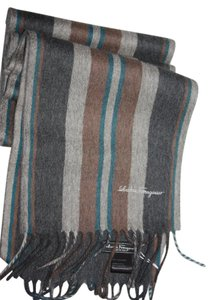 Salvatore Ferragamo salvatore ferragamo Striped signature cashmere scarf camel/blue