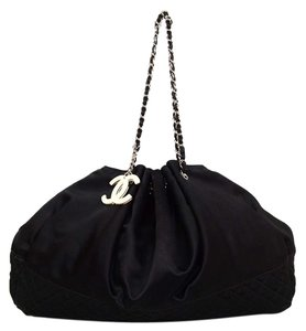 Chanel Logo Satin Quilting Tote in Black