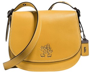 Coach Sold Out Limited Edition Classic Mickey Mouse Glovetanned Leather Cross Body Bag