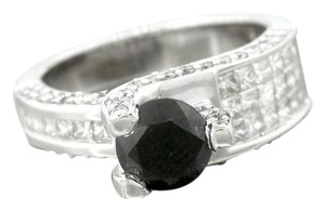 Ladies Modern 14K 585 White Gold Fancy Black Diamond Engagement Ring