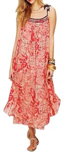 Red, Ivory multi Maxi Dress by Free People Print Maxi
