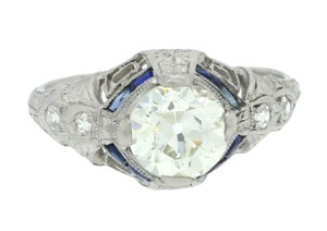 Other Antique Art Deco Platinum 1.40ct Diamond Sapphire Engagement Ring EGL