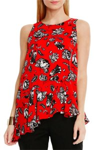 Vince Camuto Asymetrical Floral Top RED